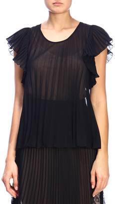 Moschino Top In Pleated And Sheer Fabric With Lace Back