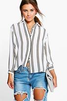 Boohoo Petite Edie Striped Oversized Shirt