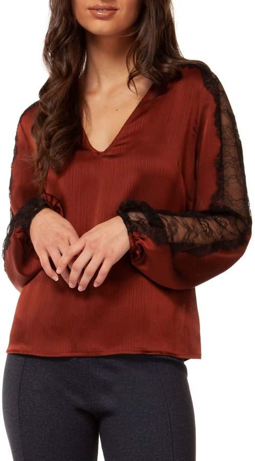 Dex Long Lace Sleeve Blouse