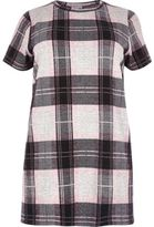 River Island Womens Plus pink check oversized T-shirt