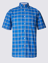 Blue Harbour Checked Oxford Shirt With Pocket