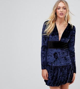 Vero Moda Tall Velvet Frill Hem Mini Dress-Navy