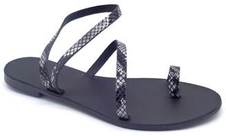 Ancientoo - Toe Ring Sandals Mania Black Boa Print