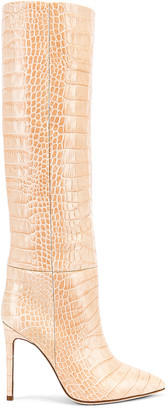 Paris Texas Croco Tall Boot in Beige | FWRD