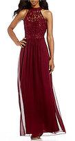 Xtraordinary Mock Neck Lace Bodice Long Dress