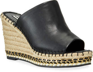 Karl Lagerfeld Paris Carina Metallic Leather Slide Wedge Espadrilles