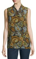 Lafayette 148 New York Ruby Sleeveless Paisley-Print Silk Blouse, Anise Multi