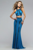 Faviana Voguish Two-Piece Jersey Dress with Sequins in Linear Pattern 7767