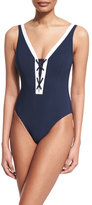 Letarte Santorini Lace-Up Front One-Piece Swimsuit