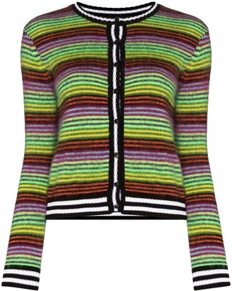 AGR Stripe Knit Button-Up Cardigan