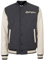 Topman Charcoal Wool Blend Varsity Jacket