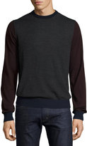 Neiman Marcus Colorblock Wool Crewneck Pullover Sweater, Shadow