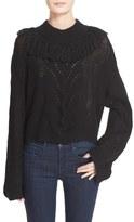 Tanya Taylor 'Ruth' Fringe Trim Alpaca Blend Crop Sweater