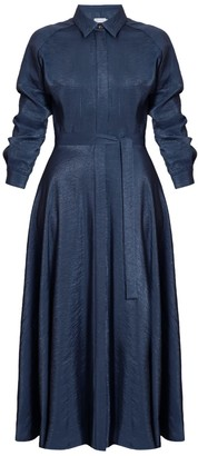Undress Dores Navy Blue Raglan Sleeves Midi Shirt Dress With Circle Skirt