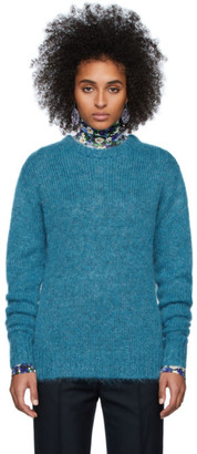Rokh Blue Wool Crewneck Sweater
