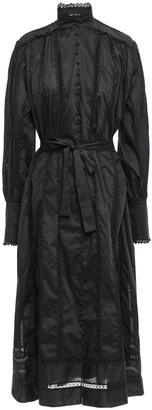 Zimmermann Lace Smock Belted Lace-trimmed Cotton-broadcloth Midi Dress