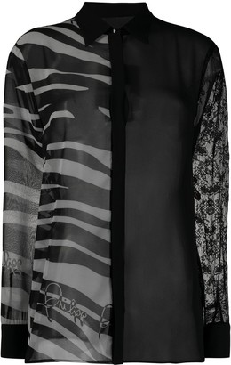 Philipp Plein Sheer Zebra Print Blouse