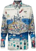 Hermes Vintage Mont Saint-Michel silk shirt