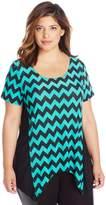 Star Vixen Women's Plus-Size Solid Short Sleeve Colorblock Sharkbite Top