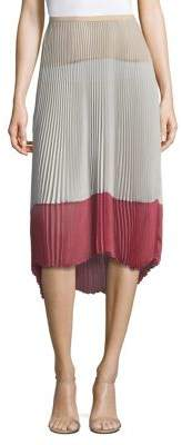 Agnona Silk Colorblock Skirt