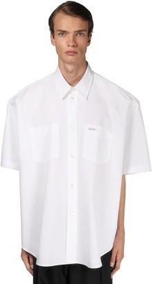 Balenciaga Logo Cotton Poplin Boxy Fit Shirt