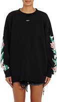 Off-White Women's Tulip-Graphic Cotton Terry Oversized Sweatshirt-Black, White