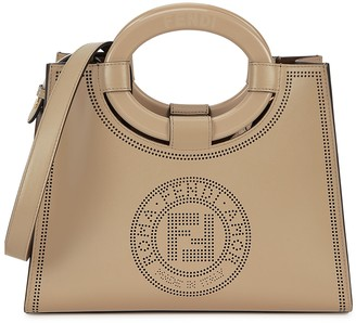 Fendi Runaway Small Taupe Logo Leather Tote