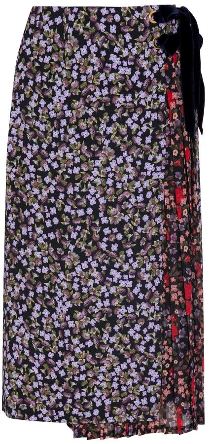 Mother of Pearl Mittie Floral Pleated Wrap Skirt