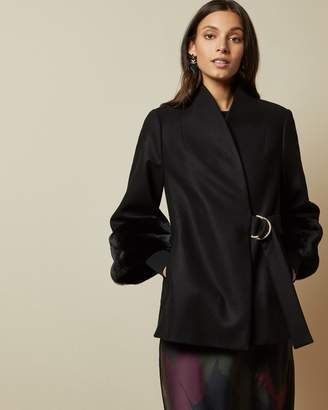 Ted Baker Faux Fur Cuff Short Wool Coat