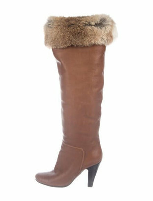 Giuseppe Zanotti Leather Fur Trim Slouch Boots Brown