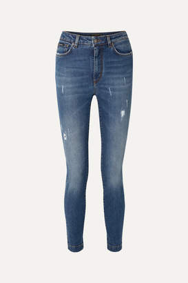 Dolce & Gabbana Audrey Distressed High-rise Skinny Jeans - Blue