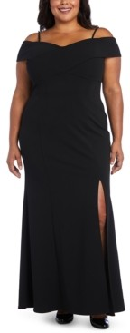 Night Way Nightway Plus Size Portrait-Collar Scuba Gown