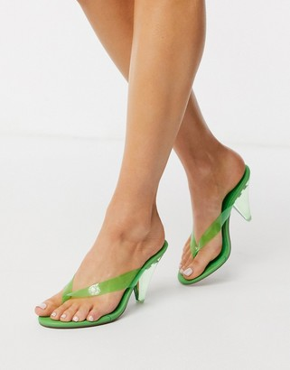 Asos DESIGN Niko flip flop heeled sandals in green