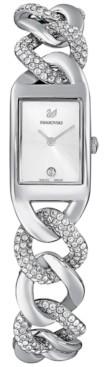 Swarovski Women's Swiss Cocktail Crystal Stainless Steel Link Bracelet Watch 24x16mm