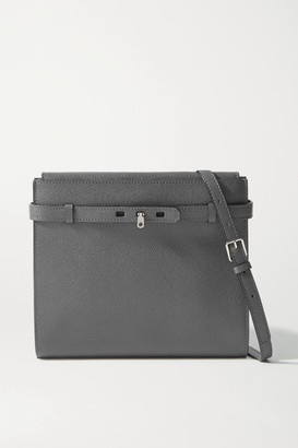 Valextra Brera B-tracollina Textured-leather Shoulder Bag - Anthracite