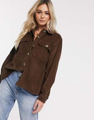 Pieces oversized cord shirt in brown-Gray