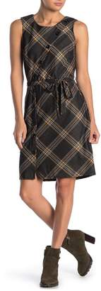 Just For Wraps Sleeveless Plaid Print Sheath Dress