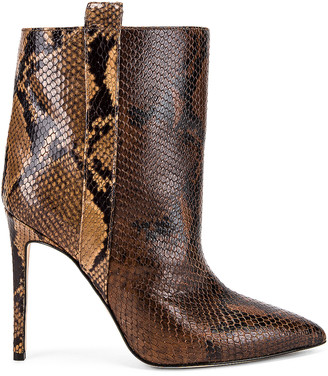 Paris Texas Snake Print Ankle Boot in Brown & Camel | FWRD