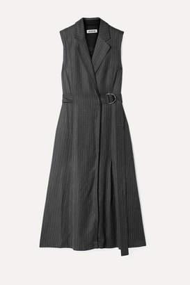 Jason Wu Belted Pinstriped Twill Dress - Gray
