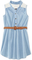Sequin Hearts Chambray Shirt Dress, Big Girls (7-16)