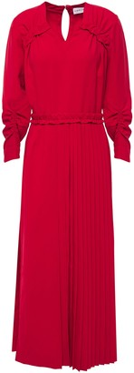 Carven Pleated Ruched Woven Midi Dress