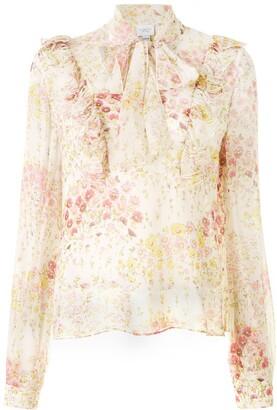 Giambattista Valli Ruffled Floral Silk Blouse