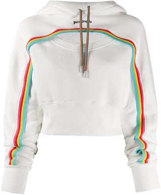 Palm Angels Rainbow cut-out cropped hoodie