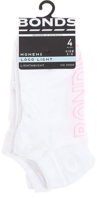 Bonds Logo Light No Show Sock 4Pk Lyam4N White 3-8