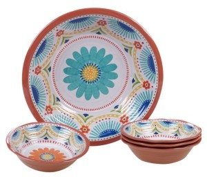Certified International Vera Cruz Melamine 5 Piece Salad/Serving Set