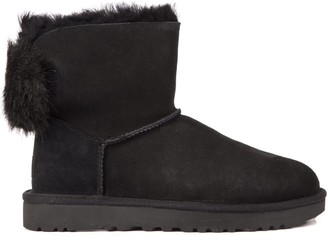 UGG Mini Puff Black Sheep Leather Ankle Boots