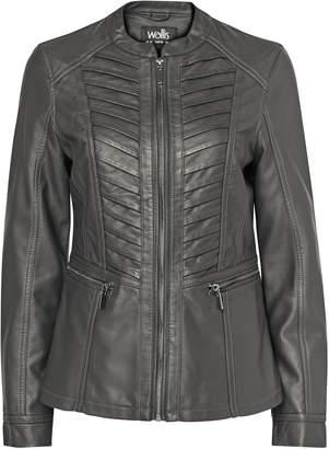 Wallis Grey Faux Leather Stitch Front Jacket