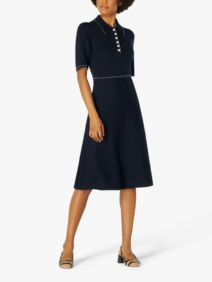 LK Bennett Liv Cotton Merino Wool Knit Dress, Navy/Cream
