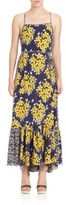 Suno Floral-Print Silk Maxi Dress