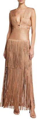 Herve Leger Lurex Cutout Fringe Gown